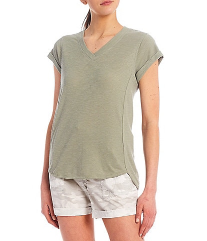 Calvin Klein Performance Tic Tac Toe Roll Cuff Short Sleeve V-Neck Top