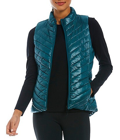 Calvin Klein Performance Water Repellent Stand Collar Sleeveless Diagonal Quilted Puffer Vest