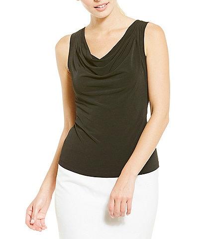 Calvin Klein Petite Drape Neck Matte Jersey Shell