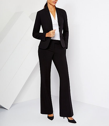 Calvin Klein Petite Notch-Collar Jacket & Classic Fit Flare-Leg Pants