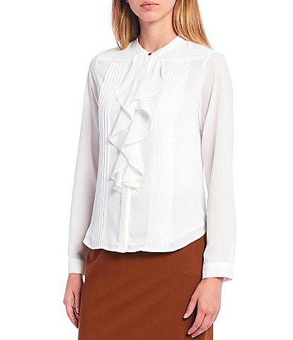 Calvin Klein Petite Size Banded Collar Ruffle & Pleat Front Button Up Blouse