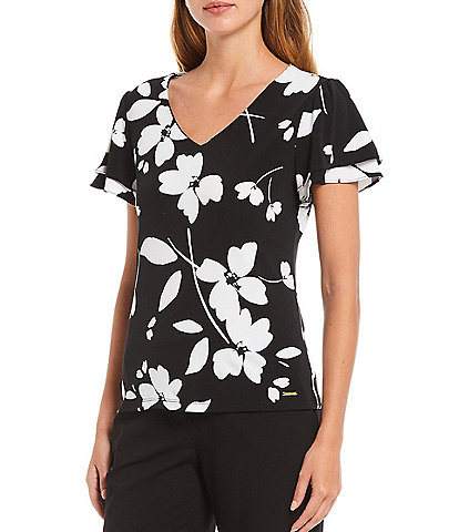 Calvin Klein Petite Size Black and White Floral Print Matte Jersey V-Neck Double Tiered Sleeve Top
