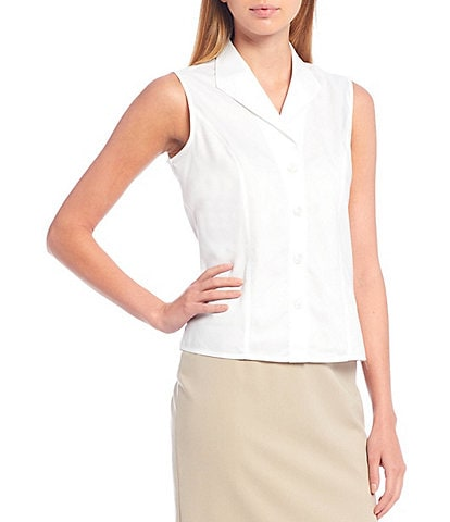 Calvin Klein Petite Size Button-Down Sleeveless Woven Shirt