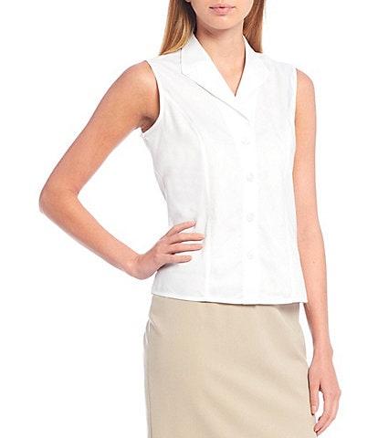 Calvin Klein Petite Size Button-Down Sleeveless Woven Shirt