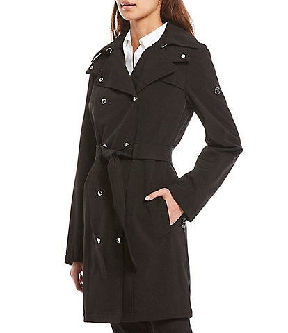 Calvin Klein Petite Size Double Breasted Soft Shell Trench Coat with Removable Hood