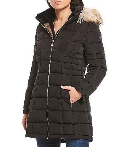 Calvin Klein Petite Size Faux Fur Trimmed Hooded Down Coat
