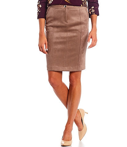 Calvin Klein Petite Size Faux Suede High Waisted Paneled Pencil Skirt