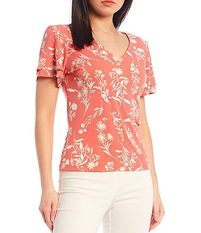 Calvin Klein Petite Size Floral Matte Jersey V-Neck Double Tiered Sleeve Top