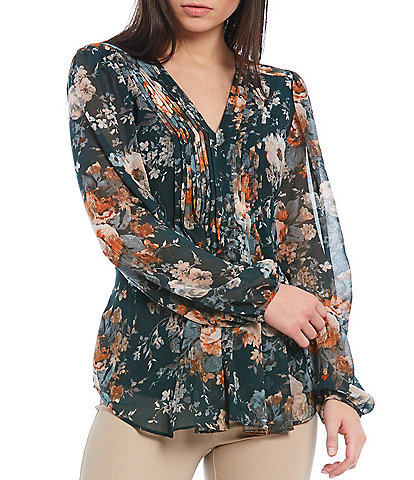 Calvin Klein Petite Size Floral Print Chiffon Pleat Front V-Neck Long Sleeve Top