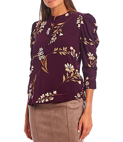 Calvin Klein Petite Size Floral Print Crepe de Chine Band Neck 1/2 Button Front Ruched Sleeve Popover Top