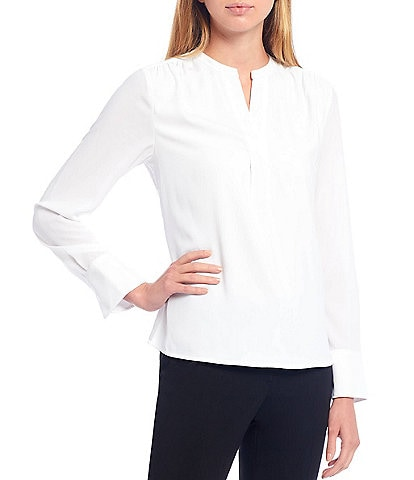 Calvin Klein Petite Size Georgette Banded Split V-Neck Long Sleeve Top