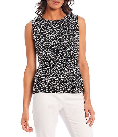 Calvin Klein Petite Size Giraffe Print Matte Jersey Pleat Neck Sleeveless Top