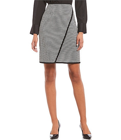 Calvin Klein Petite Size Houndstooth Pencil Skirt