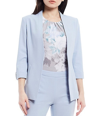 Calvin Klein Petite Size Lux Stretch Suiting Roll-Tab Sleeve Cut-Away Front Hem Open-Front Jacket