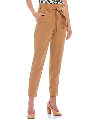 Calvin Klein Petite Size Lux Stretch Suiting Self Tie Front Pull-On Pants
