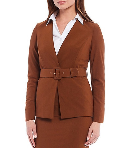 Calvin Klein Petite Size Lux Stretch Suiting V-Neck Belted Jacket