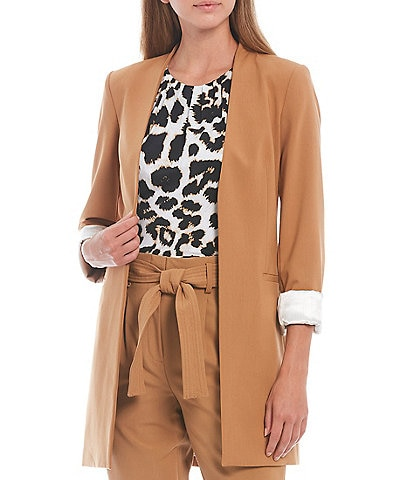 Calvin Klein Petite Size Lux Stretch Woven Suiting Contrast Lining Rolled Cuff Open-Front Jacket