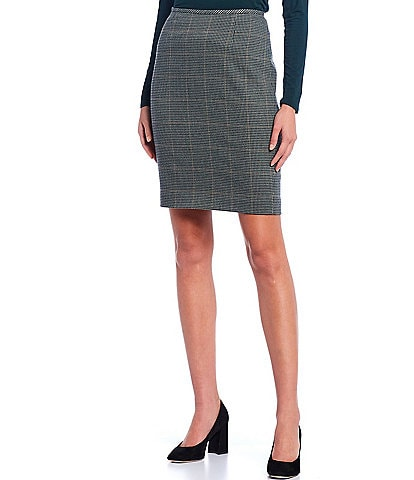 Calvin Klein Petite Size Menswear Plaid Print Pencil Skirt
