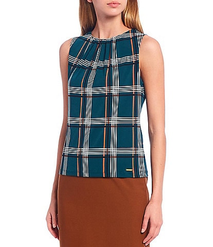 Calvin Klein Petite Size Plaid Print Matte Jersey Pleat Neck Sleeveless Top