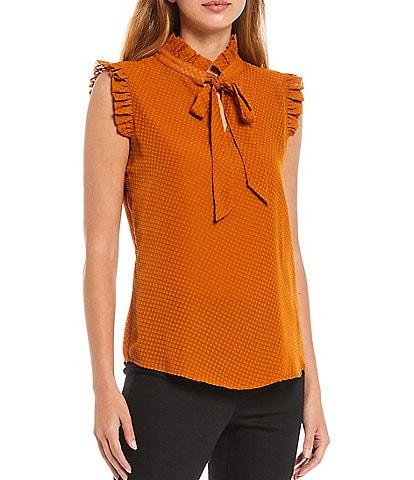 Calvin Klein Petite Size Ruffle Tie Neck Detail Sleeveless Woven Top