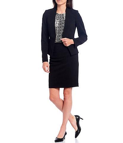 Calvin Klein Petite Size Scuba Crepe Long Sleeve Open Front Jacket & Scuba Crepe Slim Pencil Skirt