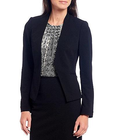 Calvin Klein Petite Size Scuba Crepe Long Sleeve Open Front Jacket
