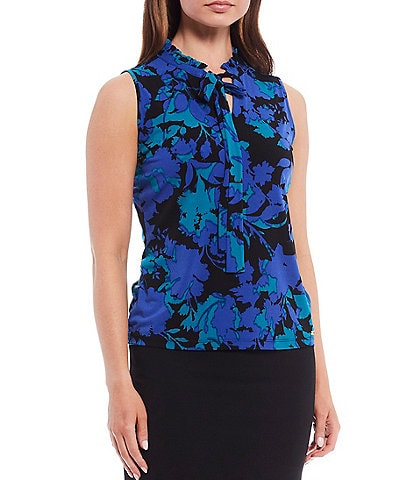 Calvin Klein Petite Size Shadow Floral Print Matte Jersey Pleated Split Tie-Neck Sleeveless Top