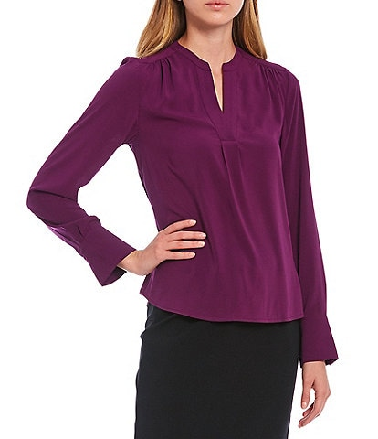 Calvin Klein Petite Size Solid Crepe de Chine Split V-Neck Long Sleeve Blouse