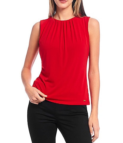 Calvin Klein Petite Size Solid Matte Jersey Pleat Neck Sleeveless Top