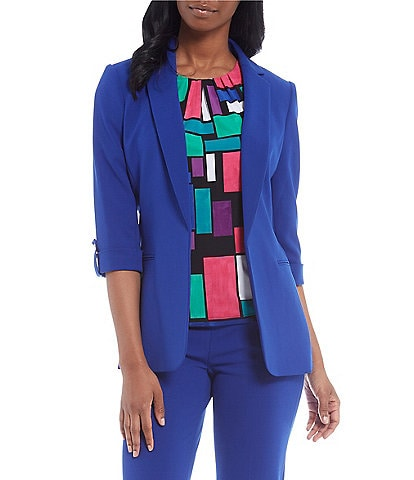 Calvin Klein Petite Size Stretch Scuba Crepe Notch Lapel Collar Roll-Tab Sleeve One-Button Front Jacket