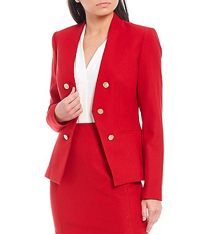 Calvin Klein Petite Size Stretch Twill Suiting Button Trim Open-Front Jacket