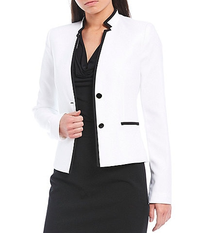 Calvin Klein Petite Size Stretch Twill Suiting Contrast Trim Stand Collar Two-Button Jacket