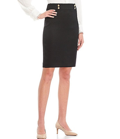 Calvin Klein Petite Size Stretch Woven Button-Trim Pencil Skirt