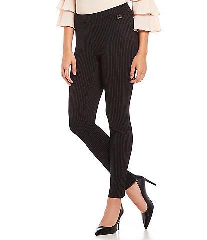 Calvin Klein Pinstripe Elastic Waist High Rise Slim Leg Ankle Pants
