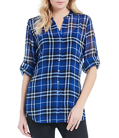 Calvin Klein Plaid Print Roll-Sleeve Button Front Hi-Low Hem Tunic