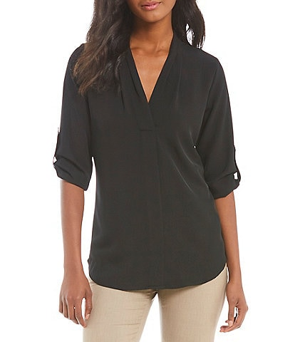 Calvin Klein Pleated V-Neck Roll-Tab Long Sleeve Top