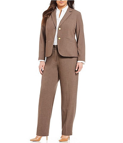 e6dc169ee7f Calvin Klein Plus 2 Button Luxe Notch Collar Jacket   Plus Classic Fit  Straight Leg Pants