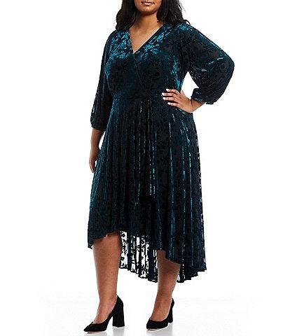 Calvin Klein Plus Burnout Velvet V-Neck 3/4 Sleeve Mock Wrap Maxi Dress