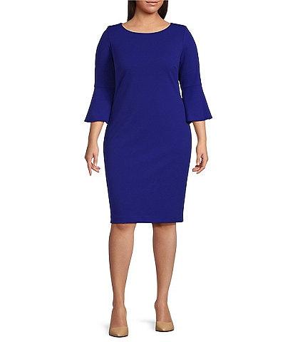 Calvin Klein Plus Size Round Neck 3/4 Bell Sleeve Sheath Dress