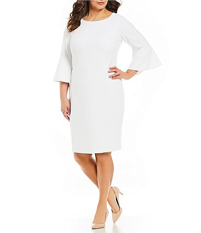 Calvin Klein Plus Size Round Neck Bell Sleeve Sheath Dress