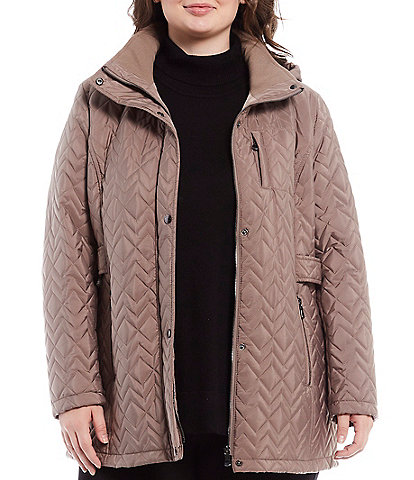 Calvin Klein Plus Side Tab Hooded Quilt Coat