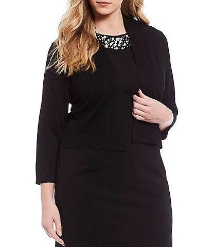 Calvin Klein Plus Size 3/4 Sleeve Open Front Rayon Shrug