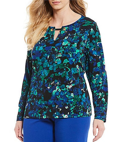Calvin Klein Plus Size Abstract Print Keyhole Neck Top