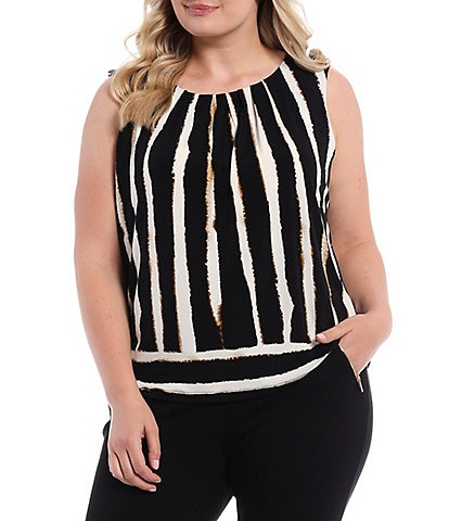 Calvin Klein Plus Size Bold Stripe Matte Jersey Pleat Neck Top
