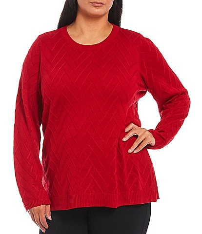 Calvin Klein Plus Size Chevron Stitch Crew Neck Long Sleeve Sweater