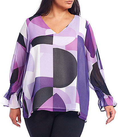 Calvin Klein Plus Size Colorblock Geo Print V-Neck Long Sleeve Top