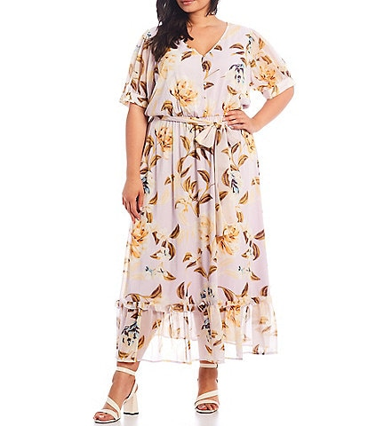Calvin Klein Plus Size Crinkle Short Sleeve Floral Printed Button Front Maxi Dress