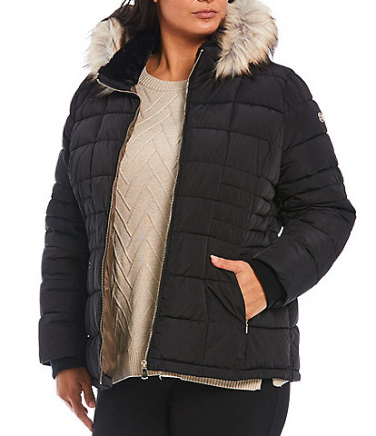 Calvin Klein Plus Size Double Layer Quilted Puffer Coat with Faux Fur Trimmed Hood