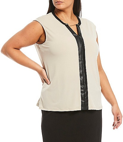 Calvin Klein Plus Size Vegan Leather Trim Chain Split Round Neck Matte Jersey Sleeveless Shell