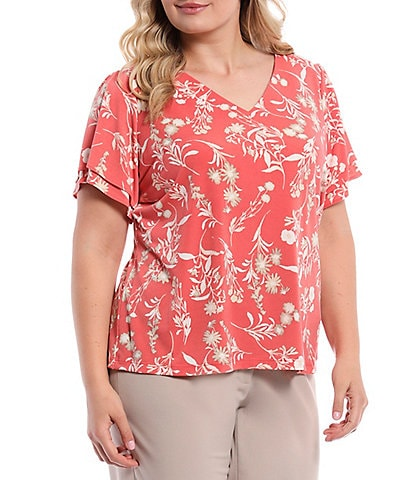 Calvin Klein Plus Size Floral Matte Jersey V-Neck Double Tiered Short Sleeve Knit Top